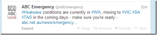 Tweet from ABC Emergency about the heatwave returning