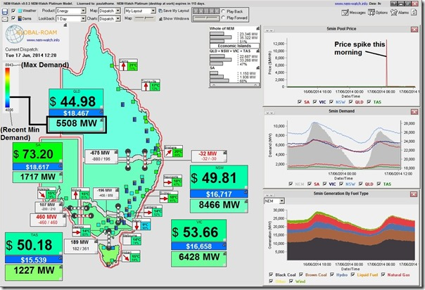 Image (from NEM-Watch) of a very ordinary day in the NEM