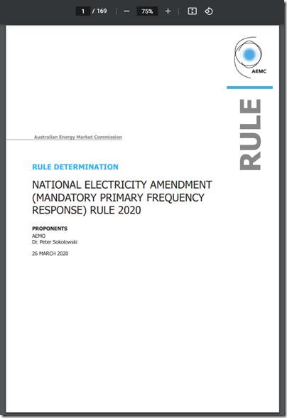 2020-03-26-AEMC-PrimaryFrequencyResponse