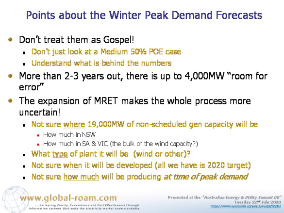 Pontes about the winter peak demand forecasts